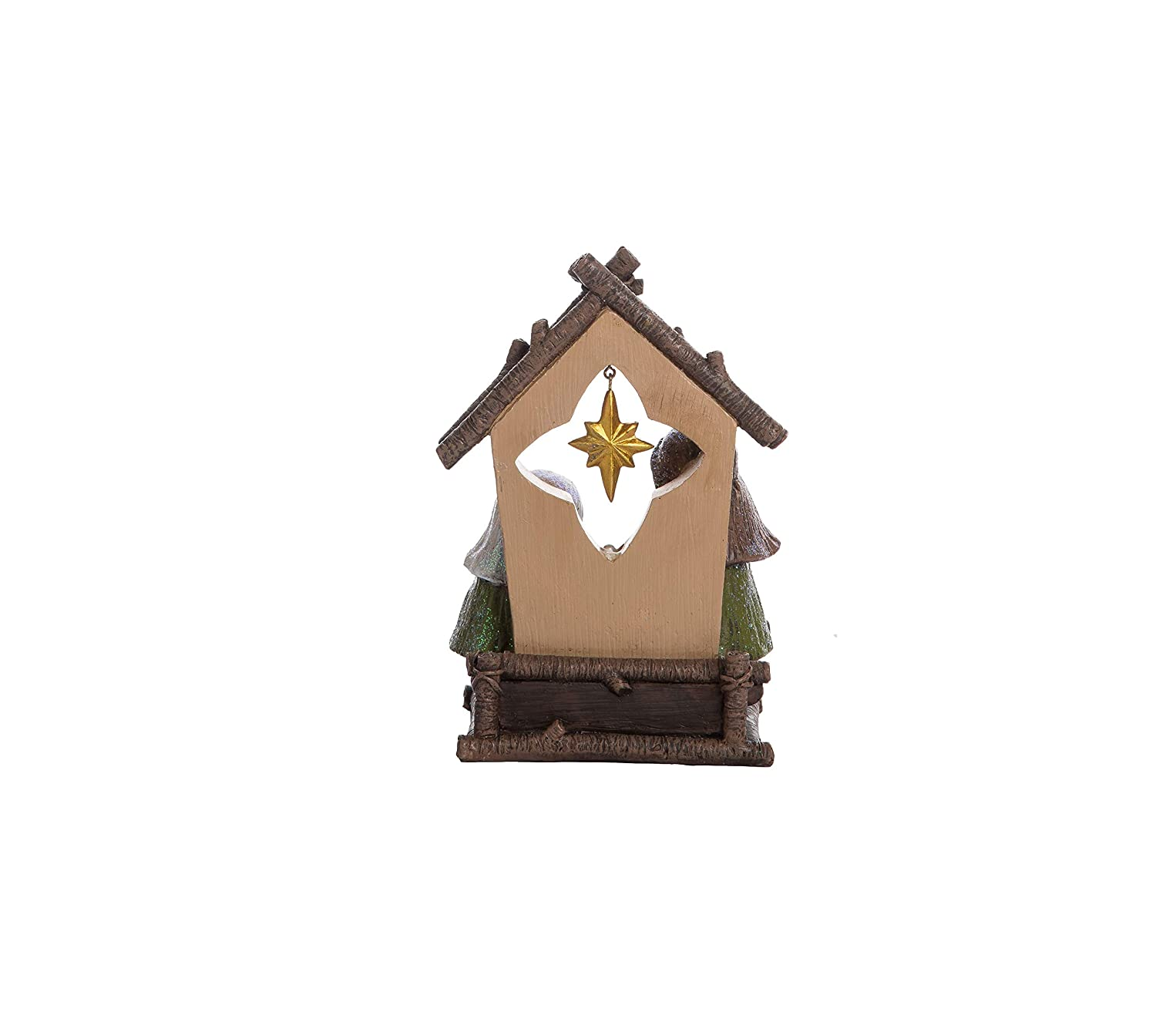 Transpac Imports D0689 Resin Light Up Kid Nativity Set Brown