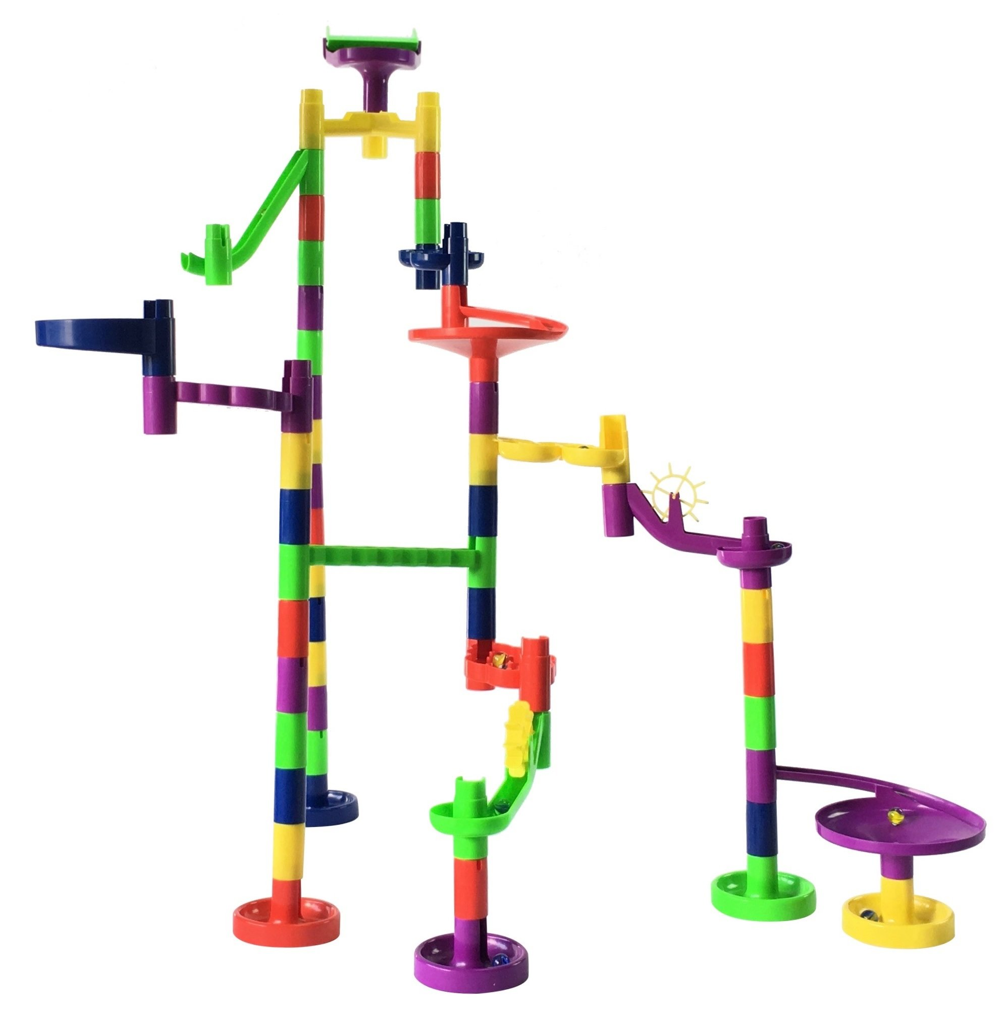 Mr. Marble Run Starter Set (48 Large Marble Run Pieces + 10 Glass Marbles)