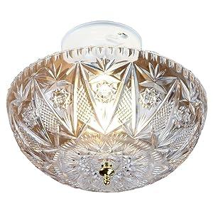 Clip-on Light Shade - Diamond Cut Acrylic Dome Lightbulb Fixture - 11 inch