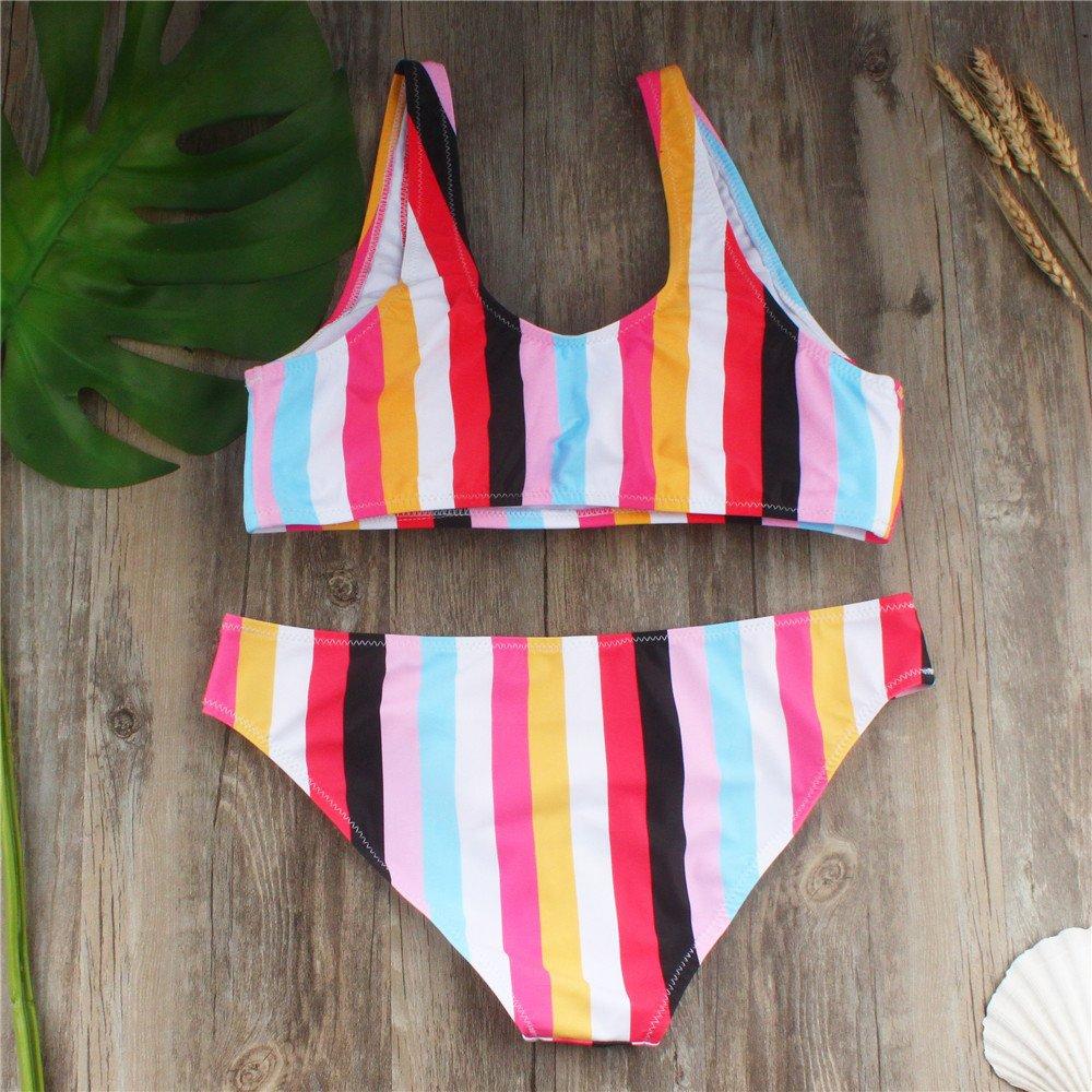 Hunzed Women【Rainbow Bikini】Clearance Women Swimsuit Two Piece Vertical Stripes Bikini Set Bathing Beachwear