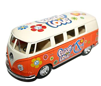 ORANGE 1 32 Die Cast Volkswagen Campervan with  quot Peace and Love quot   Hippy 2d1c03dfa