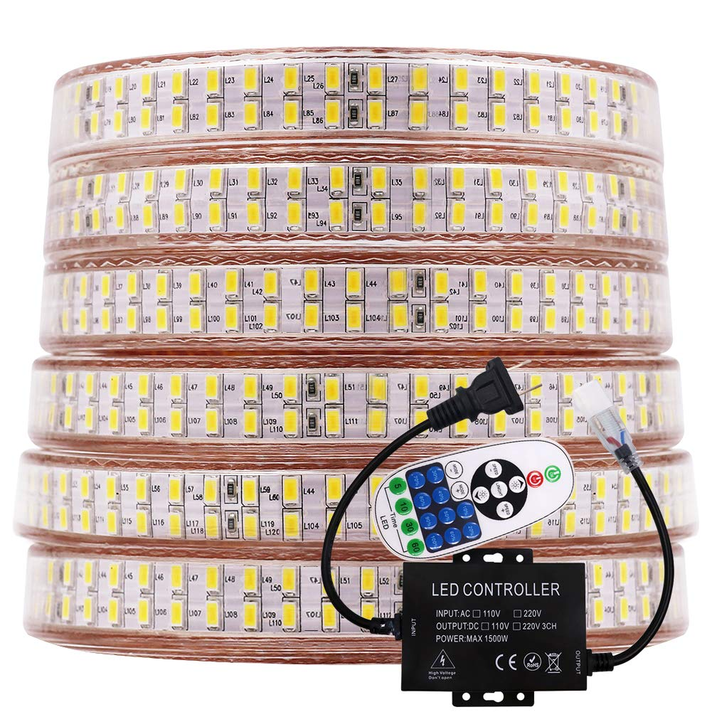 XUNATA LED Rope Lights with Remote Ccontroller, 30Ft Dimmable Waterproof 5730(5630 Upgraded) 240 LEDs/M 110V Strip Light, Flex Super Bright for Outdoor Indoor Decor(Warm White)