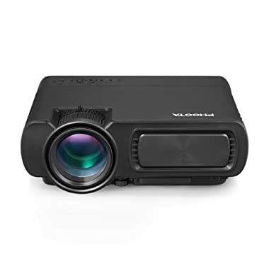PHOOTA Mini Projector, 2019 Upgraded Portable LED Video Projector with 50,000 Hrs LED Lamp Life, 2400 Lux Full HD 1080P and 170'' Display Supported, Compatible with HDMI, VGA, USB, AV, Laptop