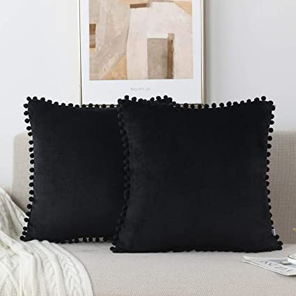 Amazon Com Nordeco Home Flannel Throw Pillow Covers Soft Set Of 2 Decorative Pompom Cushion Covers Cases For Bed Sofa Home Decoration 18 X 18 Black Home Kitchen