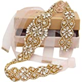 Yanstar Handmade Wedding Bridal Belts and Sashes Crystal Rhinestone Ribbon Belt for Wedding Bridesmaid Prom Gowns