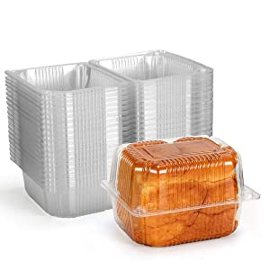 Disposable Plastic Hinged Food Container - 80 Pcs Clear Hinge Clamshell Plastic Containers, 5.4