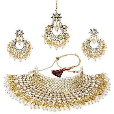 Buy Shining Diva Fashion Latest Kundan Design Bridal Pearl Choker
