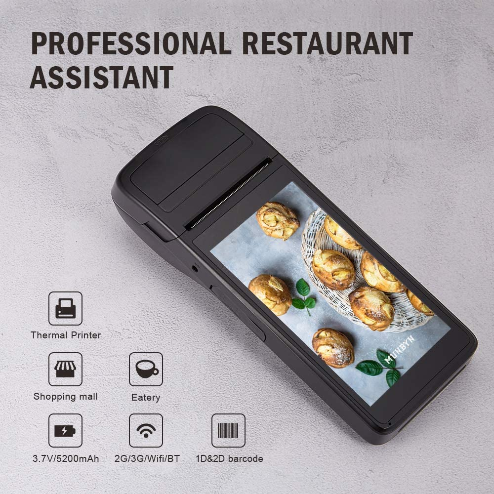 Android POS Terminal Receipt Printer MUNBYN, 5.5 inch Touch Screen, support 3G WiFi BT GPS NFC for Restaurant Eatery Diner Snack Bar Cafeteria Retail ...