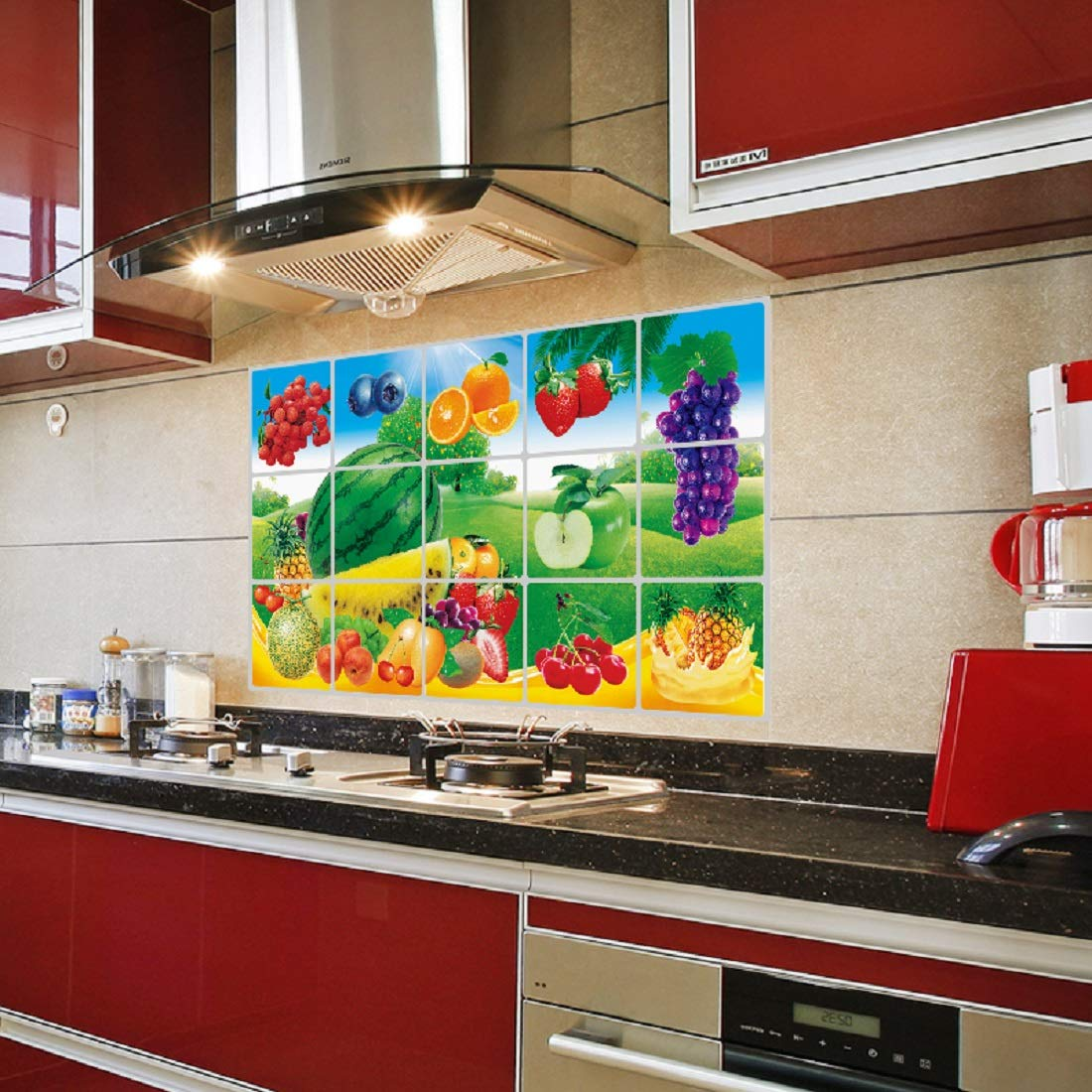Buy Jaamso Royals Fruits And Vegetable Kitchen Protection Anti Mark Oil Proof Easy Clean Plastic Wall Stickers Mosaic Tiles Design Home Decor Aluminium Foil Heat Resistant Oil Proof Art Online At Low Prices In