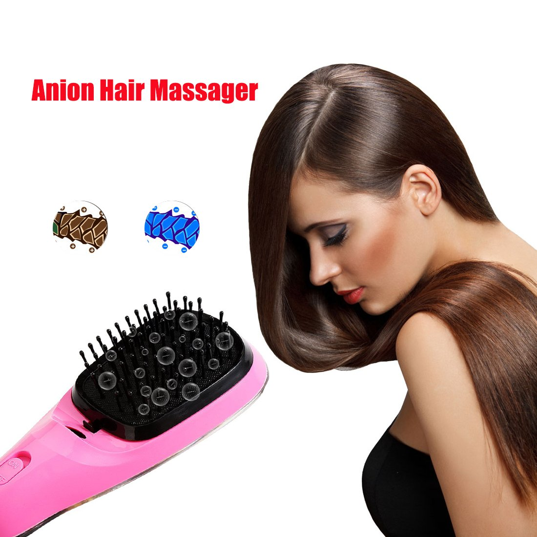 Lookathot Mini Portable Hair Straightener Brush Detangling USB Rechargeable Hair Styling Comb Anion Hair Massager Travel Light Weight (Black) by Lookathot (Image #6)