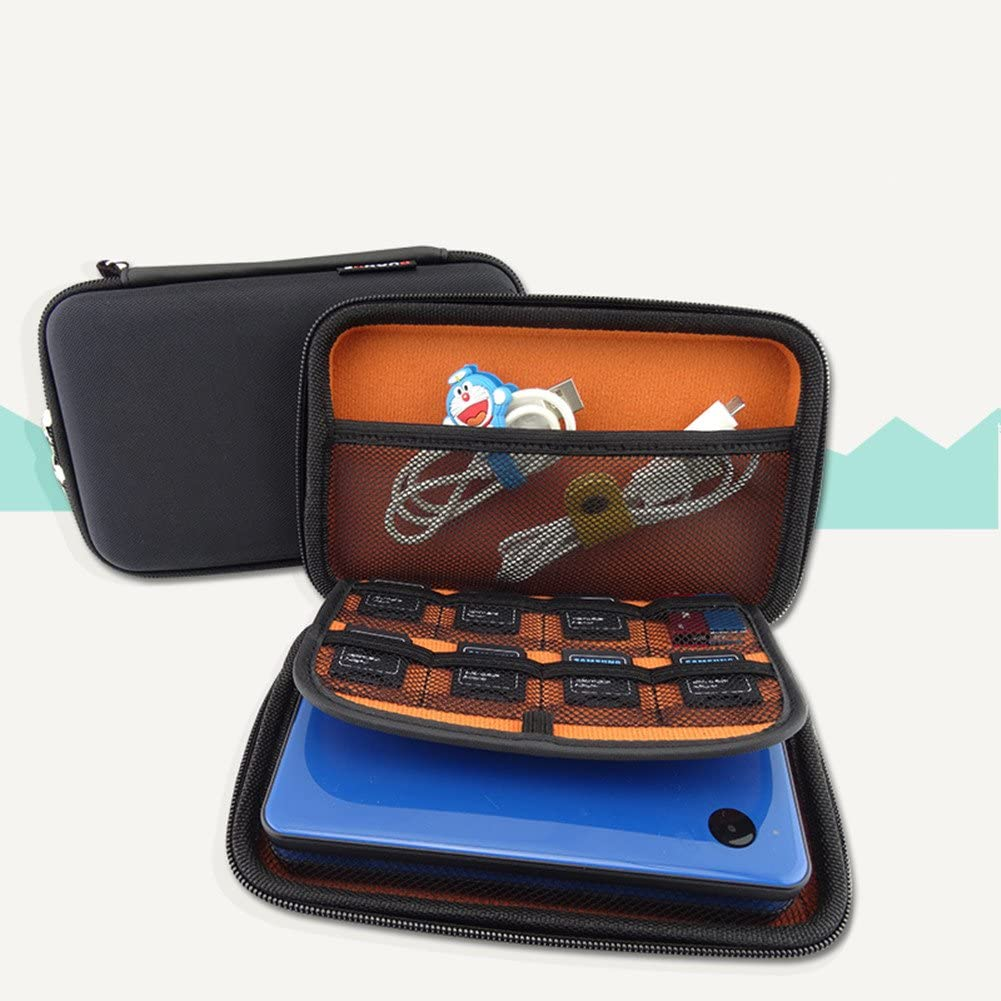 Netral Hard Black/Orange 3DS Case with Mesh Pocket, Zip for 3DS XL / 3DS / 3DS LL Console, 18.5*12*4cm