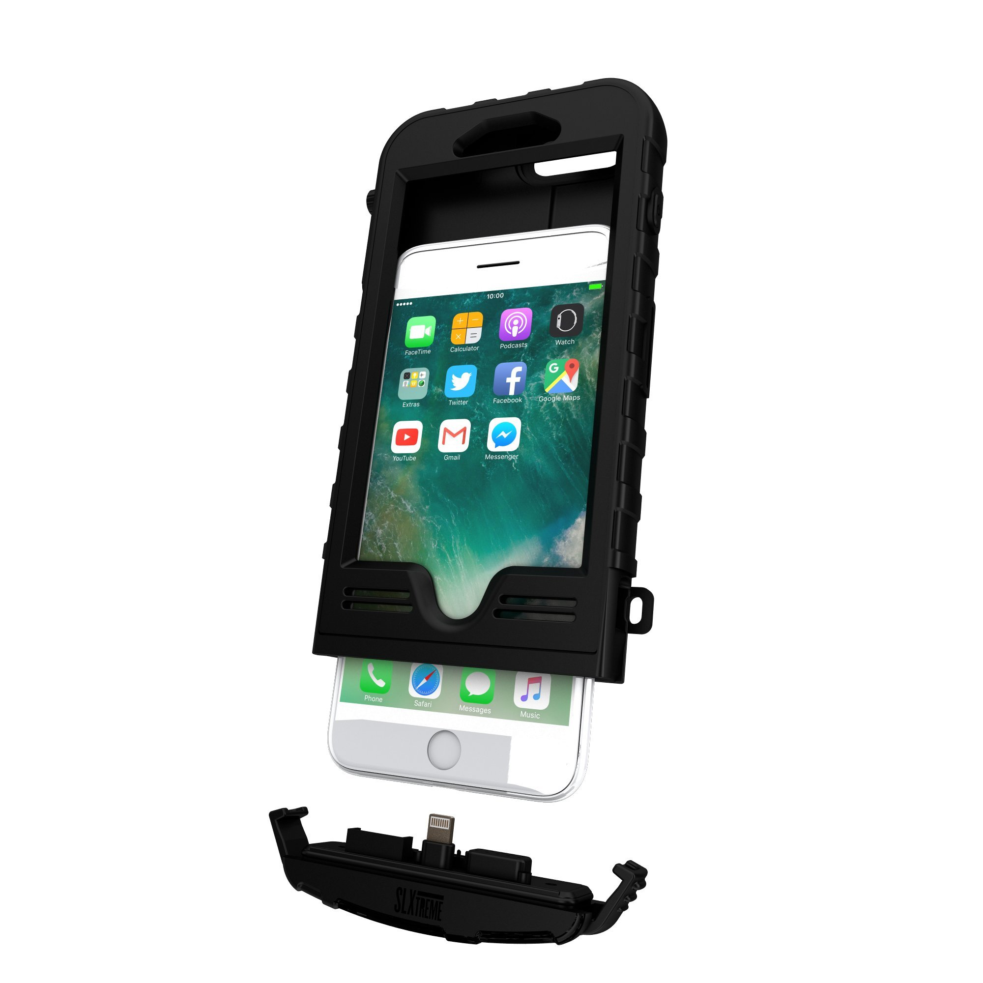 SnowLizard SLXtreme iPhone 8 Plus Case. Solar Powered, Rugged and Waterproof with a built in Battery - Night Black by Snow Lizard Products (Image #5)