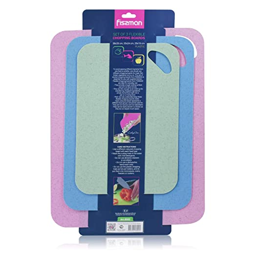 Resort Chef Plastic Kitchen Cutting Boards Set of 4 Reversible Boards with Food Icons BPA Free & Eco Friendly, Non Porous, Dishwasher Safe. Best for Food Safety- Includes Ceramic Knife & Non-Slip Mat