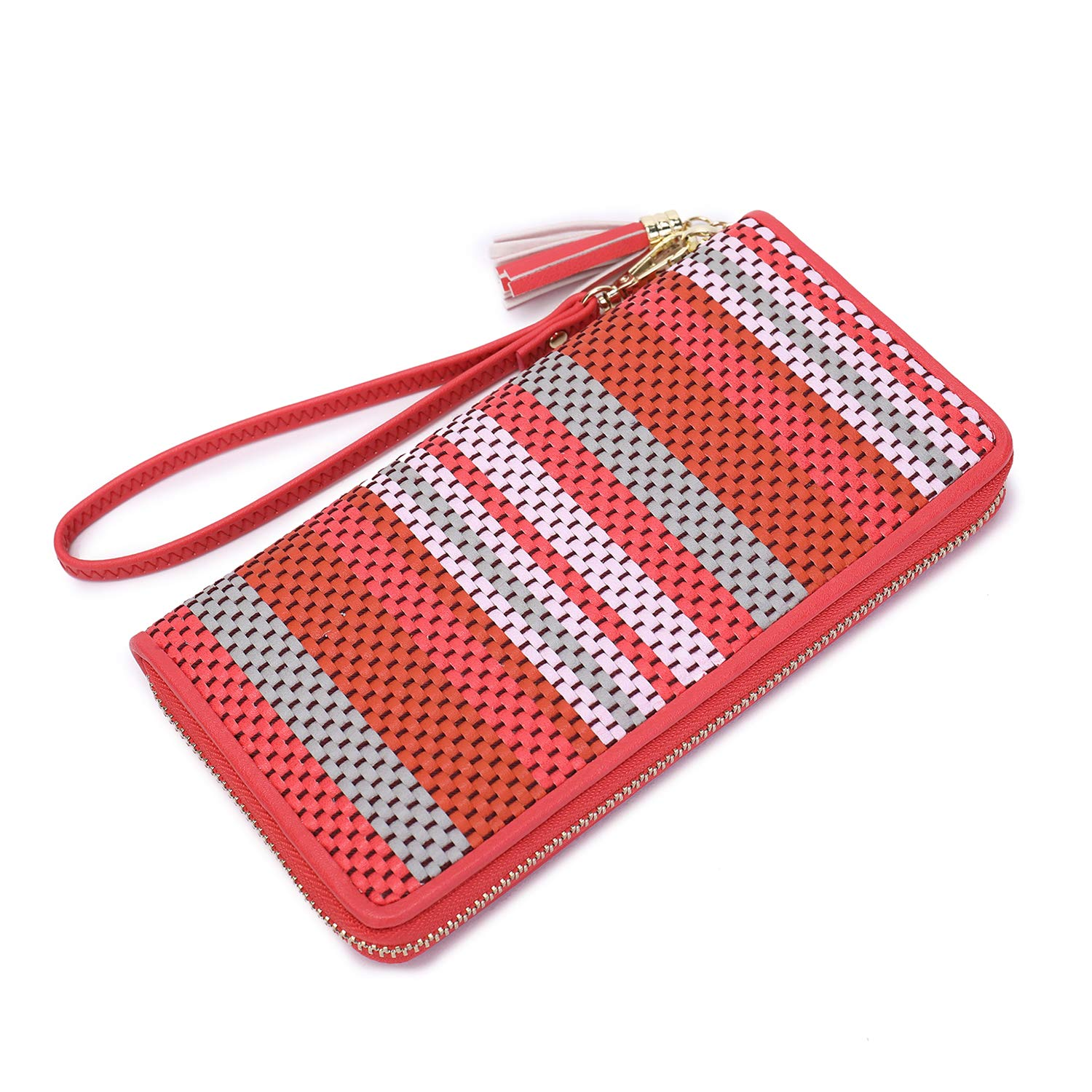 Women Large Wristlet Wallet bifold tassel ladies Clutch Phone Holder girl's Designer Woven Leather Long Purses Card organizer with Wrist Strap zipper around rose red