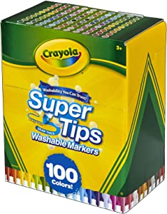 Crayola Super Tips Washable Markers, Gift Age 3+ - 100 Count (58-5100)