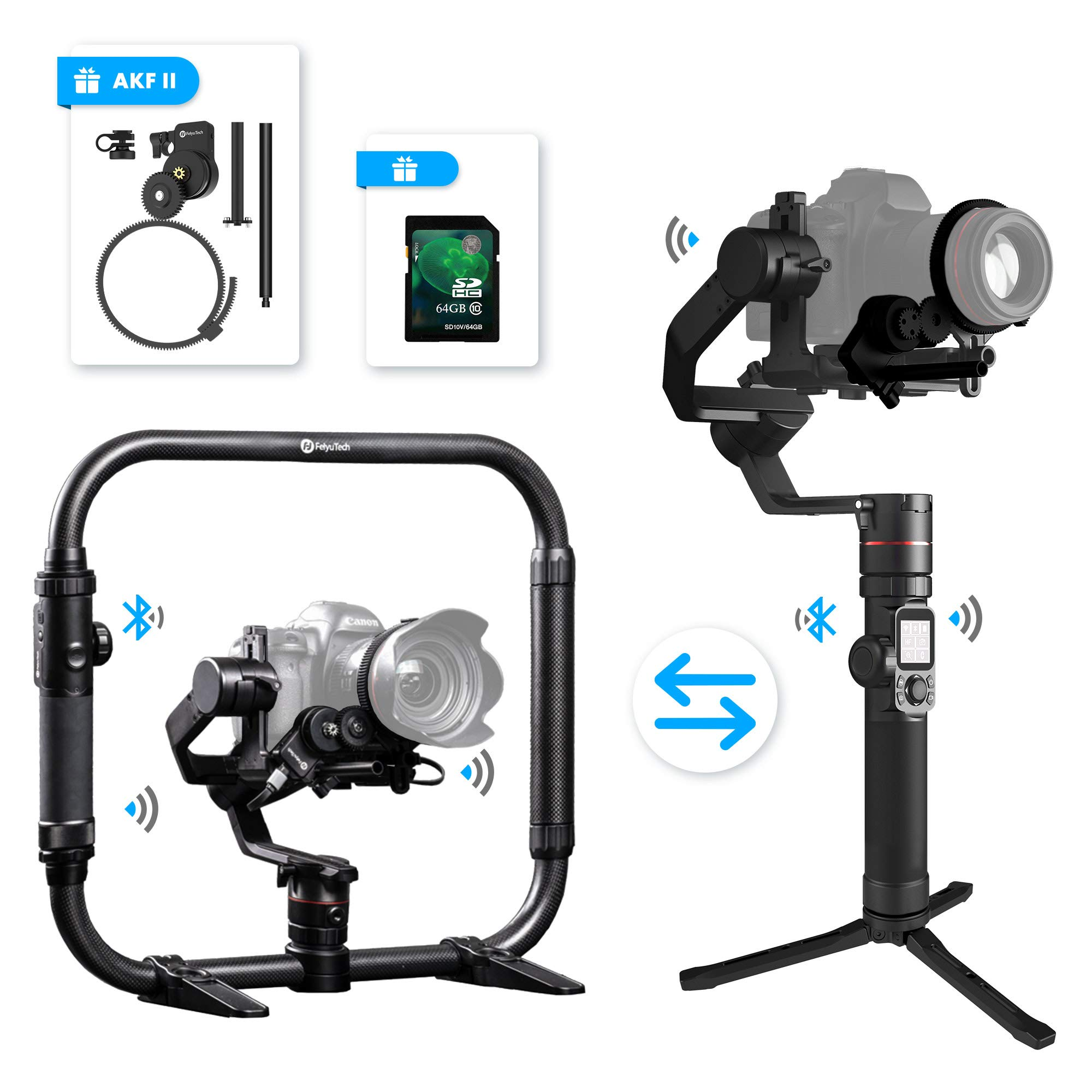 FeiyuTech Feiyu AK4000 3 Axis DSLR Gimbal Stabilizer, Dual Handheld KIT, w/Ring-Style Grip Handle and Follow Focus II, 8.8 lbs Max Load, Compatible with Canon EOS Series, Nikon & Sony Series DSLR Came by FeiyuTech