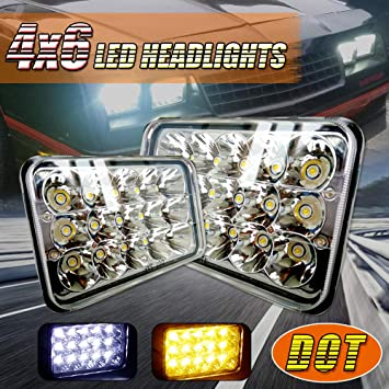 2 pcs DOT Approved 4 x 6 Headlight OEM Replacement Rectagular Sealed Beam Assemblies H4651 H4656 12-24V Fits For Freightliner Semi Peterbilt 379 Chevy C10 S10 Blazer RV KW Kenworth T600 W900B Truck