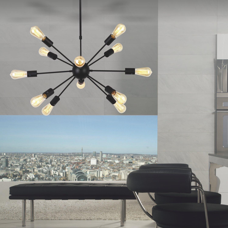 VINLUZ Sputnik Chandelier Black -12 Lights Modern Chandelier ...