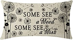 Mothes Fathers Day Gift Quote Words Some See A Weed Some See A Wish Flying Dandelion Waist Lumbar Beige Cotton Linen Throw pillow case Cushion cover for Sofa home decorative Oblong 12x20 Inches