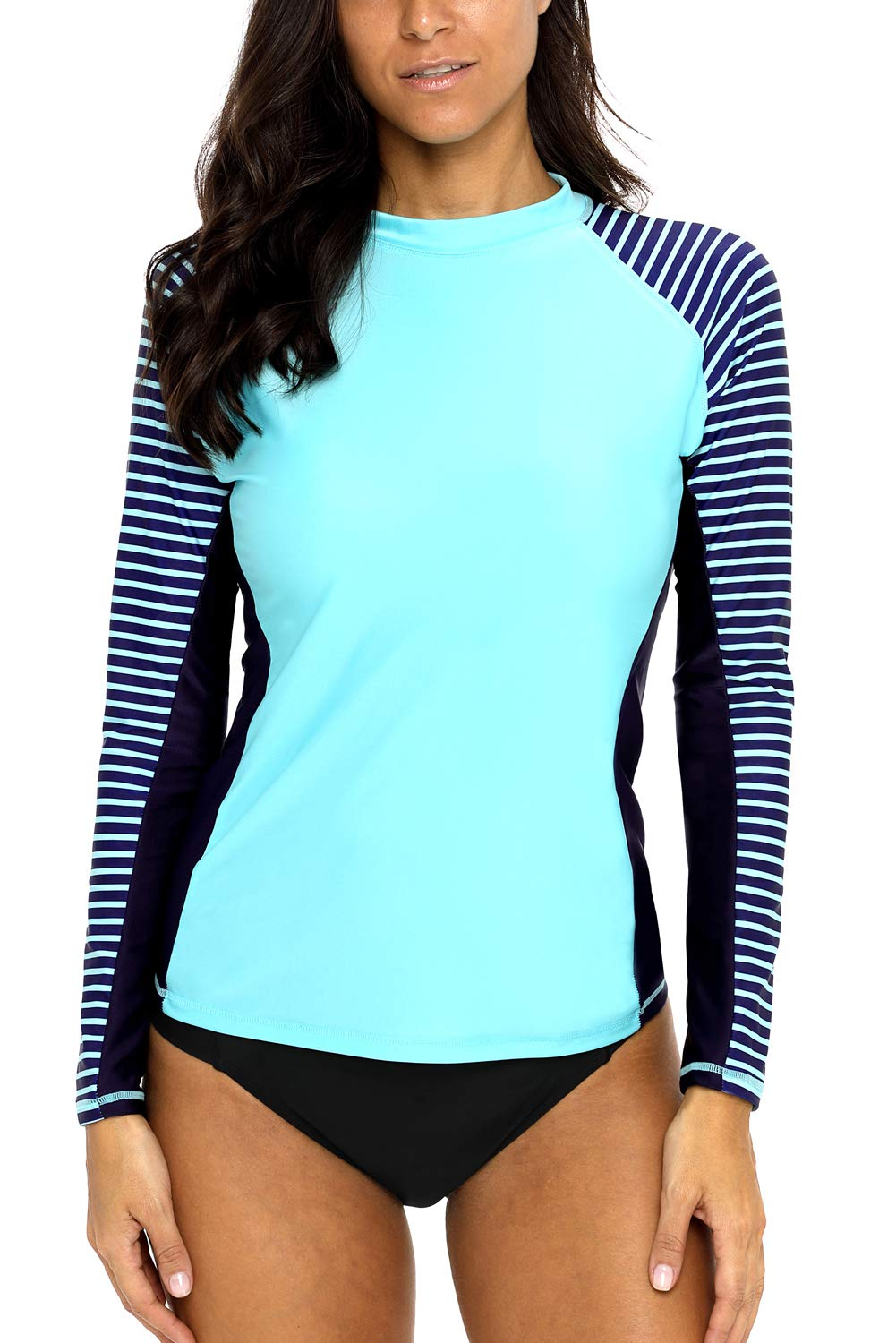 d18aeba3e CharmLeaks Women Rash Guard Long Sleeve Swim Shirts Striped UV Swimsuit Tops