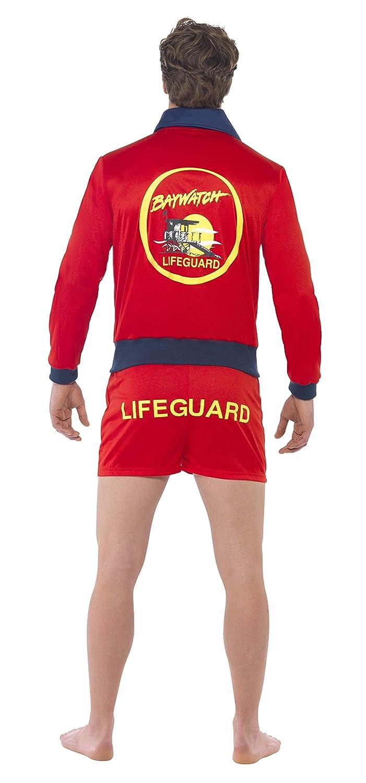 Smiffys Smiffys-20587L Licenciado Oficialmente Disfraz de Vigilante de la Playa de Baywatch, con Parte de Arriba y bermud Color Rojo L - Tamaño 42