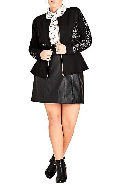 83fbba8407b Amazon.com  City Chic Trendy Plus Size Lace-Inset Peplum Jacket (L ...