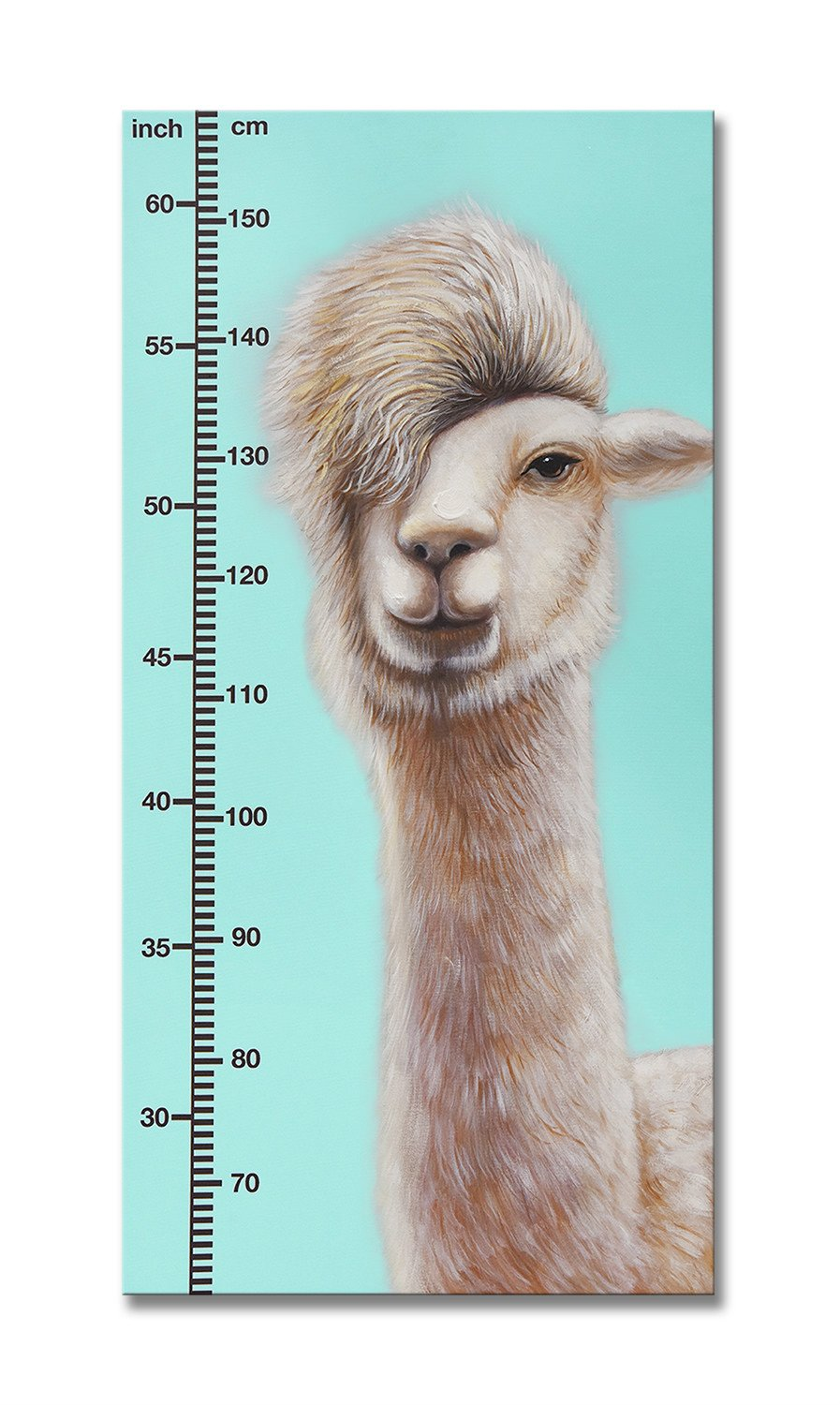 SEVEN WALL ARTS - Baby Height Growth Chart Artwork Canvas Art Wall Hanging Ruler Height Measurement Chart with Wood Frame for Kids Room Nursery Room Wall Decor 20 x 40 Inch (Blue)