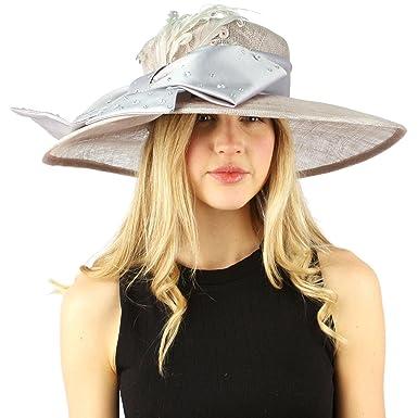 74b45ca6a240a8 Fancy Kentucky Derby Floppy Crystals Feathers Big Ribbon Bow Church Hat Gray