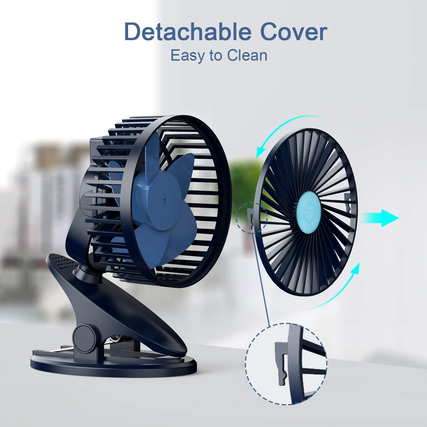 Stroller Fan, Clip On Fan, USB & Rechargeable Battery OperatedMini Fans with 3 Speeds, Personal Cooling Fan 360°Adjustable Rotating, Super Quiet, Ideal for Home, Office Desk, Travelling & Camping by NUÜR (Image #4)