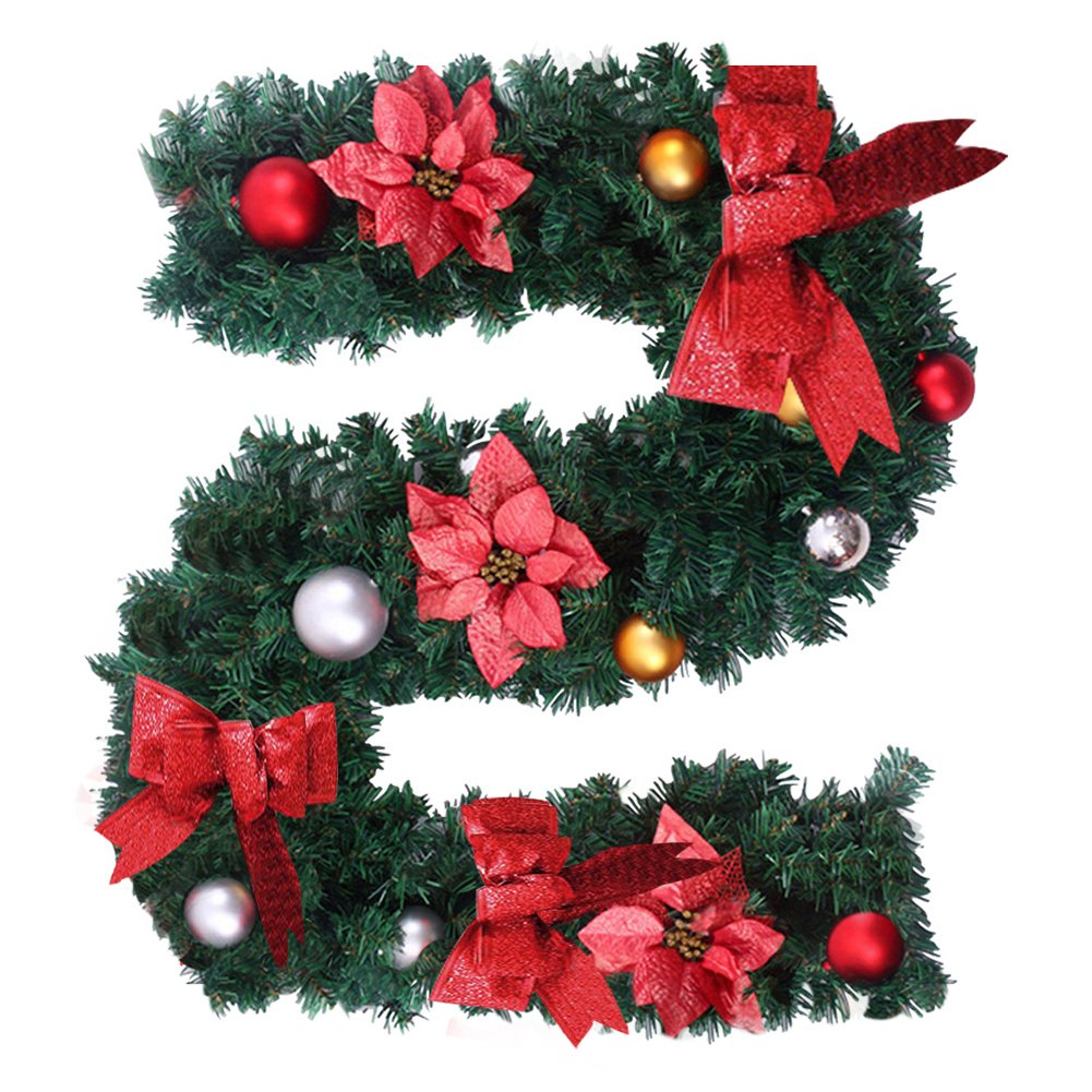 6Ft/1.8M Christmas Garland for Stairs fireplaces Christmas Garland Decoration Xmas Festive Wreath Garland with Flower & Bow Gold skyblue-uk