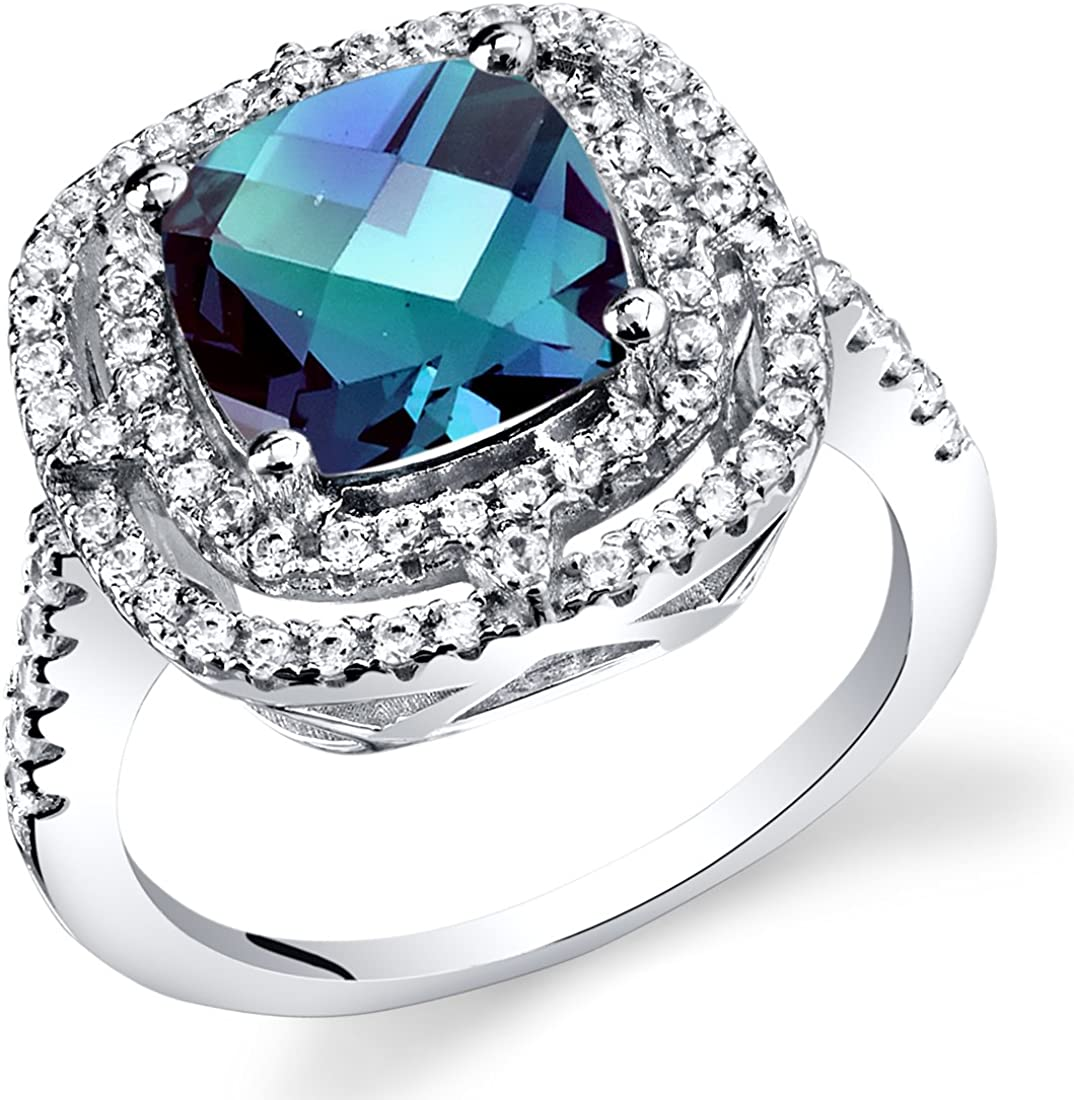 Simulated Alexandrite Cushion Cut Cocktail Ring Sterling Silver 3.00 Carats Sizes 5 to 9