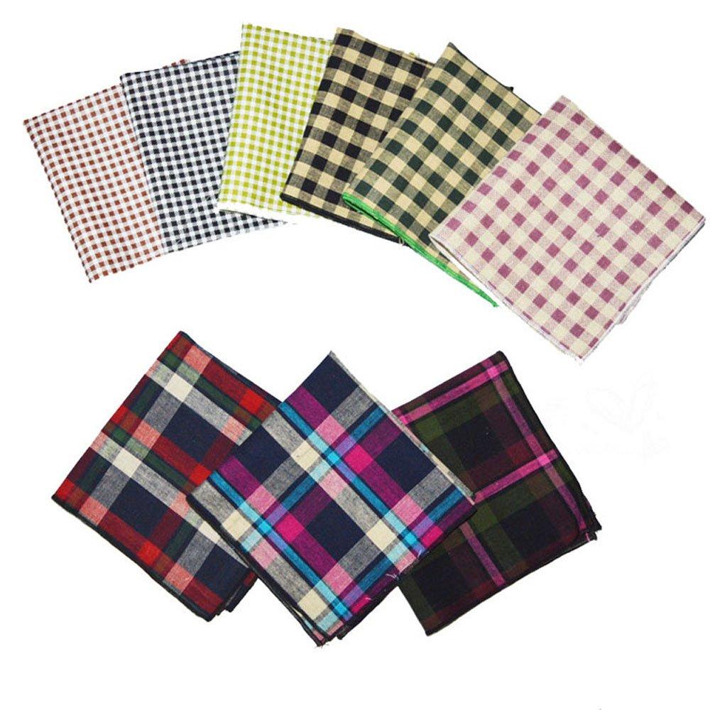 Weishang 9 PCS Mens Pocket Square Set Handkerchief Wedding Party(pack of 9) PS07_KHP-C