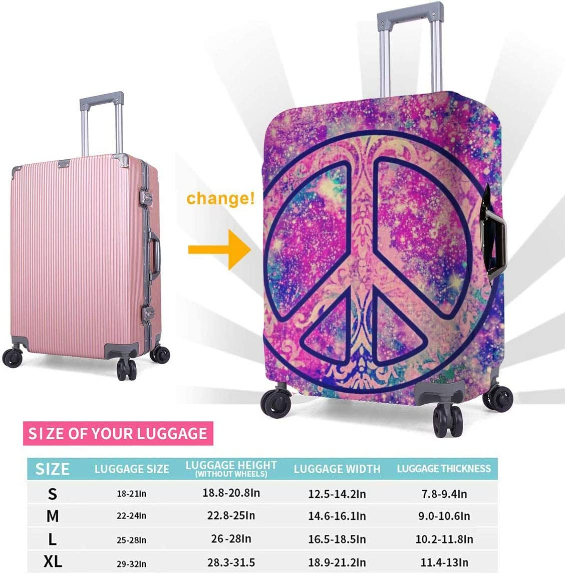 Peace Symbol Elastic Travel Luggage Cover,Double Print Fashion Washable Suitcase Protective Cover Fits 18-32inch Luggage