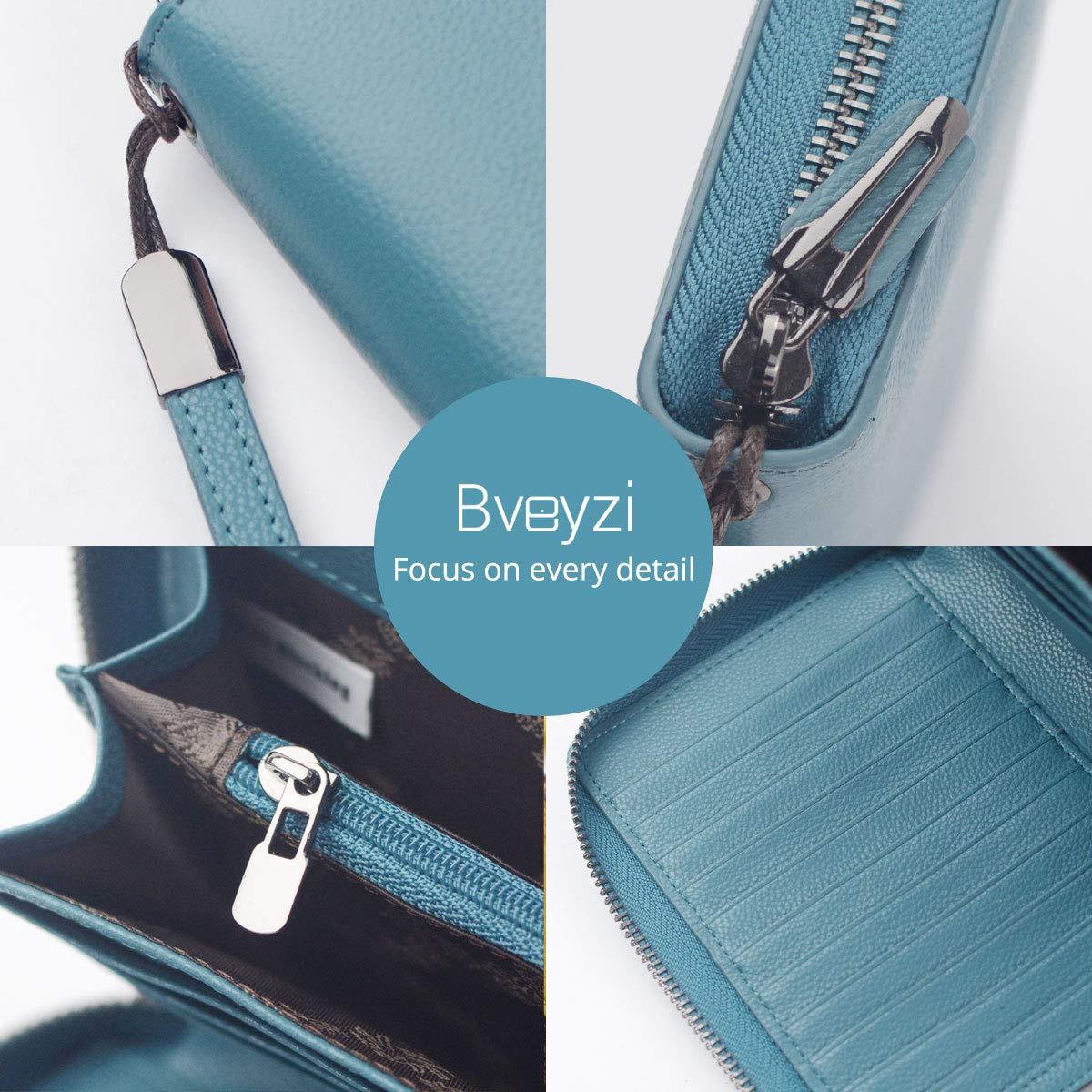 Women RFID Blocking Wallet Leather Zip Around Phone Clutch Large Travel Purse Wristlet (Lake Blue) by Bveyzi (Image #3)