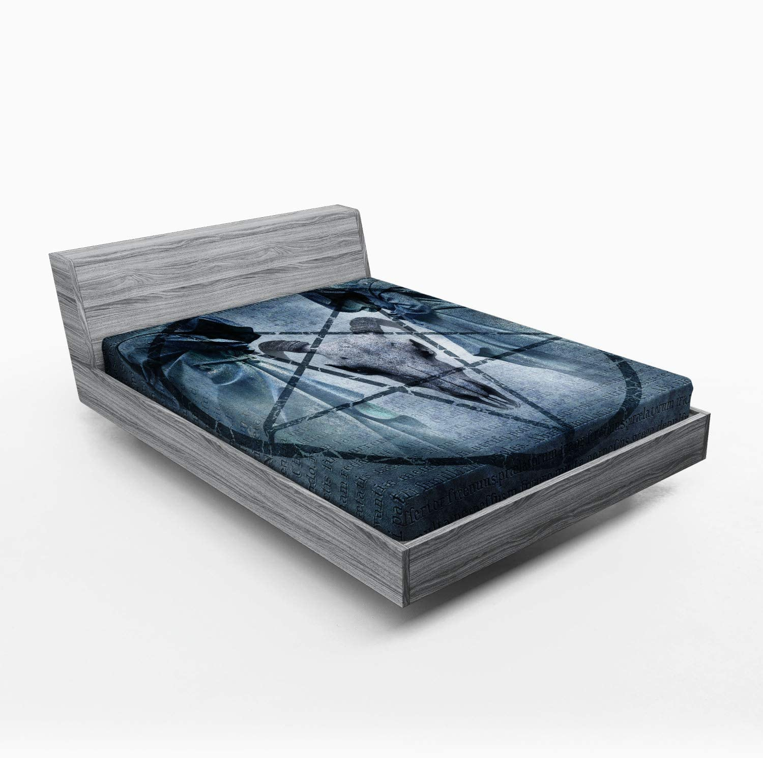 Ambesonne Horror House Fitted Sheet, Artwork with Pentagram Goat Skull Devil Dream Hooded Exorcist Image, Soft Decorative Fabric Bedding All-Round Elastic Pocket, Queen Size, Blue