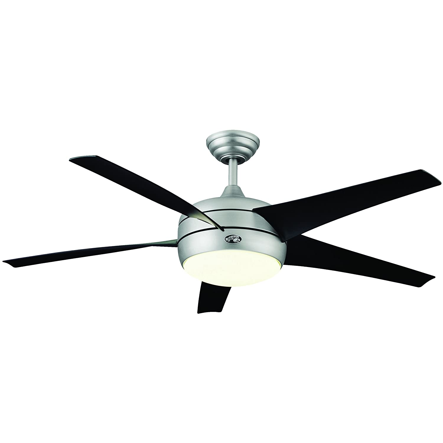 Hampton Bay 54 In. Windward II Brushed Steel Ceiling Fan, Single ...