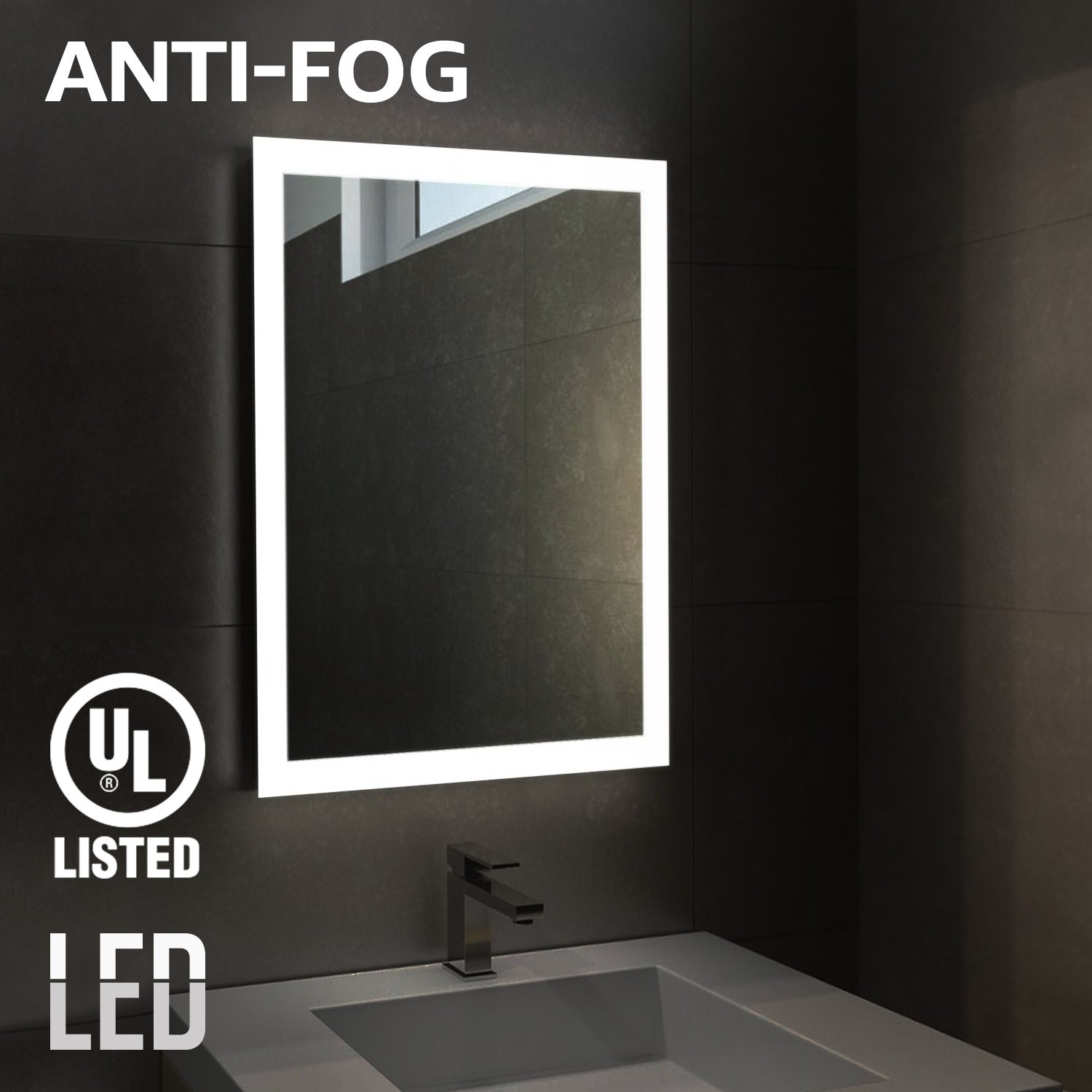 """Fogless LED Lighted Makeup Mirror, UL-listed, Wall Mounted Vanity Silver Mirror for Bathroom, SPA, Shower, Polished Edge, 32"""" × 24"""", Exterior Rectangle Ring Frosted Photic Zone"""