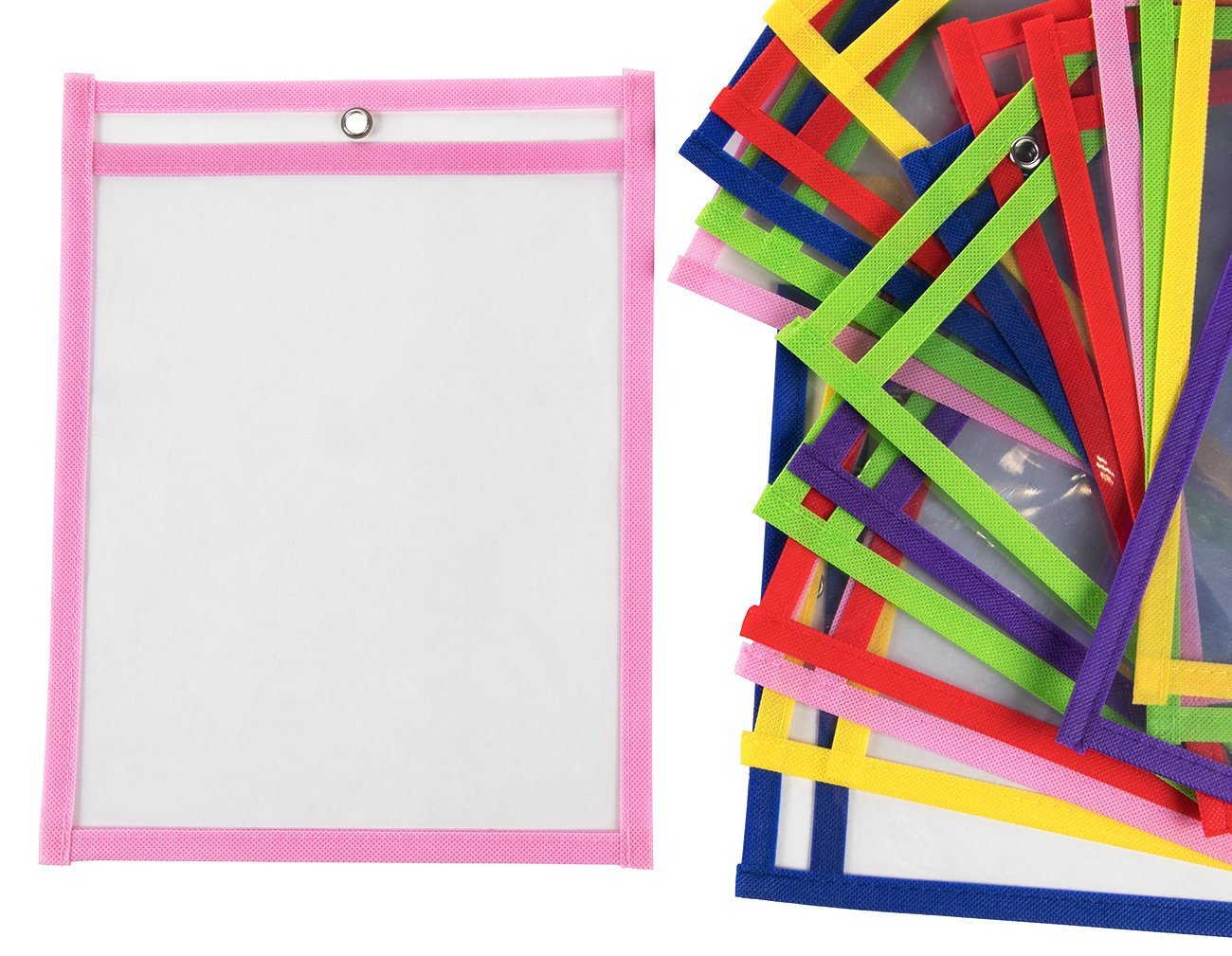 Dry Erase Pockets - 36-Pack Reusable Plastic Sheet Protectors, Shop Ticket Holders for Office, Classroom, School, Education Supplies, 6 of Each 6 Colors, 11.5 x 13.2 x 2.5 inches