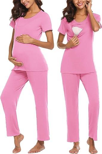 MAXMODA Pijama de maternidad de algodón para enfermería/mano de obra/entrega para el hogar del hospital, camisas básicas de enfermería, pantalones de ...