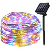 SEMILITS Solar String Lights Outdoor - 33ft 100 LED Copper Wire Waterproof Solar Fairy Light for Christmas Wreath Home Garden Tree Patio Fence Decorations Multicolor
