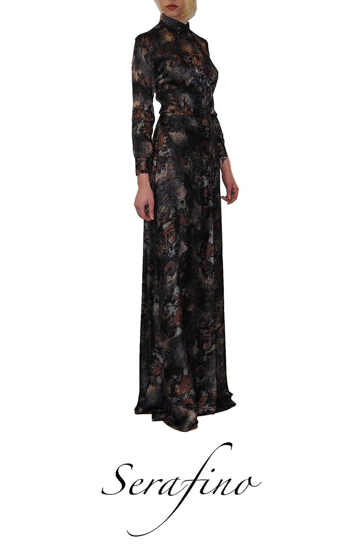 CAPO ESCLUSIVO - Abito donna Chemisier seta fiori rilievo, elegante, gonna lunga, con bottoni