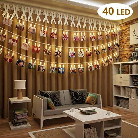 reputable site 79305 1267b BOLWEO Battery Operated LED Photo Clips Peg String Lights, 4M 40 LED 2  Modes Picture Clips Copper Wire Fairy Lights,for Home Wall Christmas Room  ...