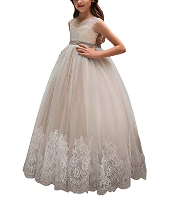 5c407a4404f Amazon.com  Flower Girl Dress for Wedding Kids Lace Pageant Ball ...