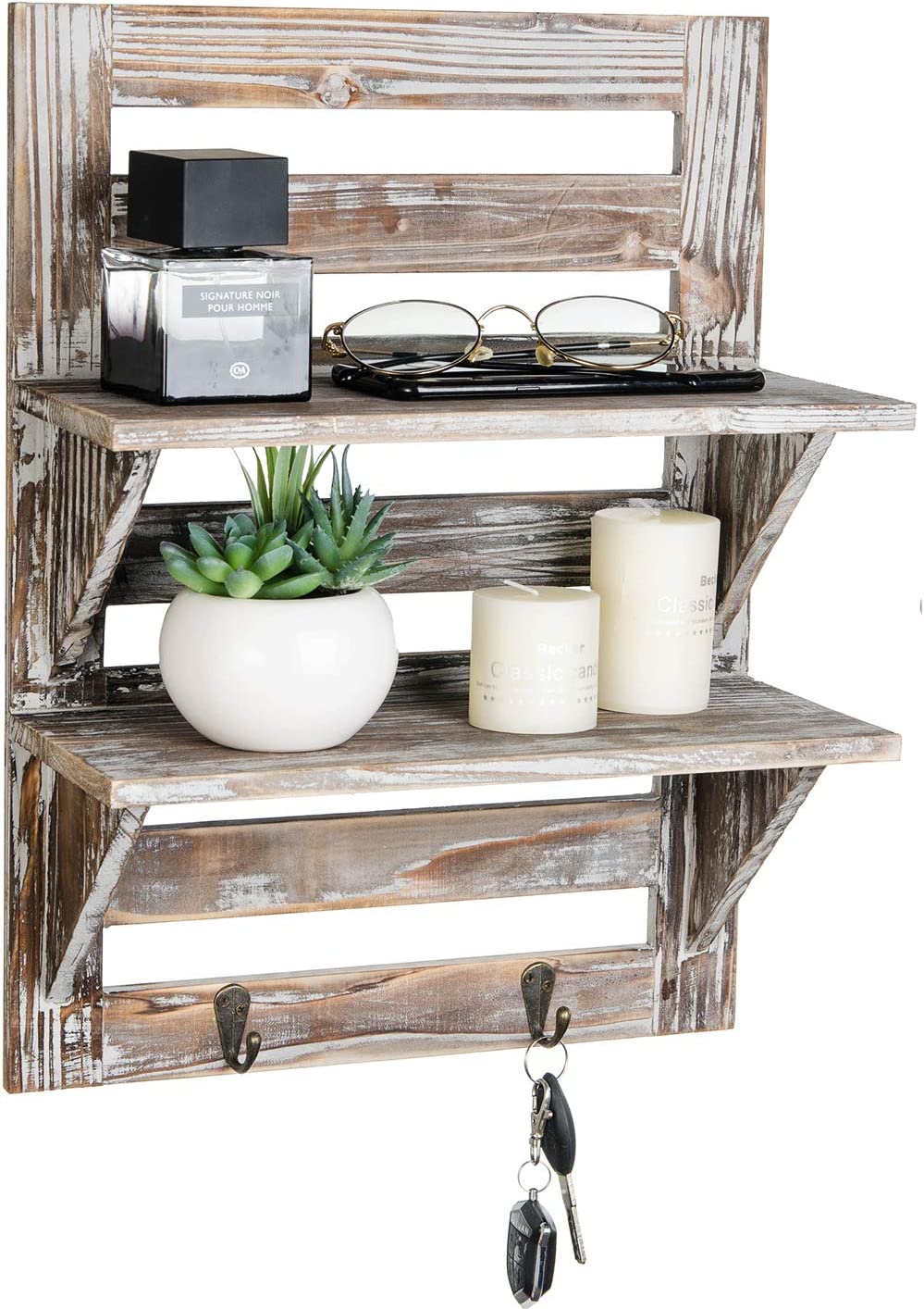 Liry Products Rustic Wooden Wall Mounted Shelves Iron Hooks Two-Tier Storage Rack Brown Torched Distressed Wood Display Shelf Organizer Farmhouse Decorative Holder Home Office Kitchen Living Room