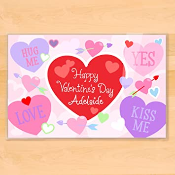 Amazon.com: Olive Kids Personalized Valentine\'s Day Placemat: Home ...