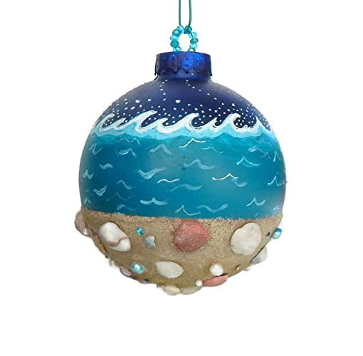 Amazon Com Beach Christmas Ornament Hand Painted Glass And Polymer