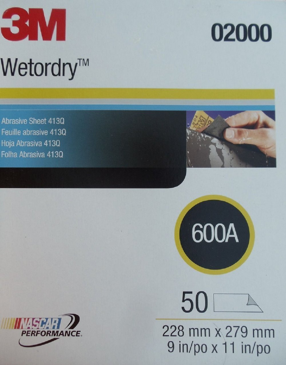 "Abrasive Sheets 9/"" x 11/"" Pkg of 50 3M Imperial Wet or Dry 2000 Grit SandPaper"