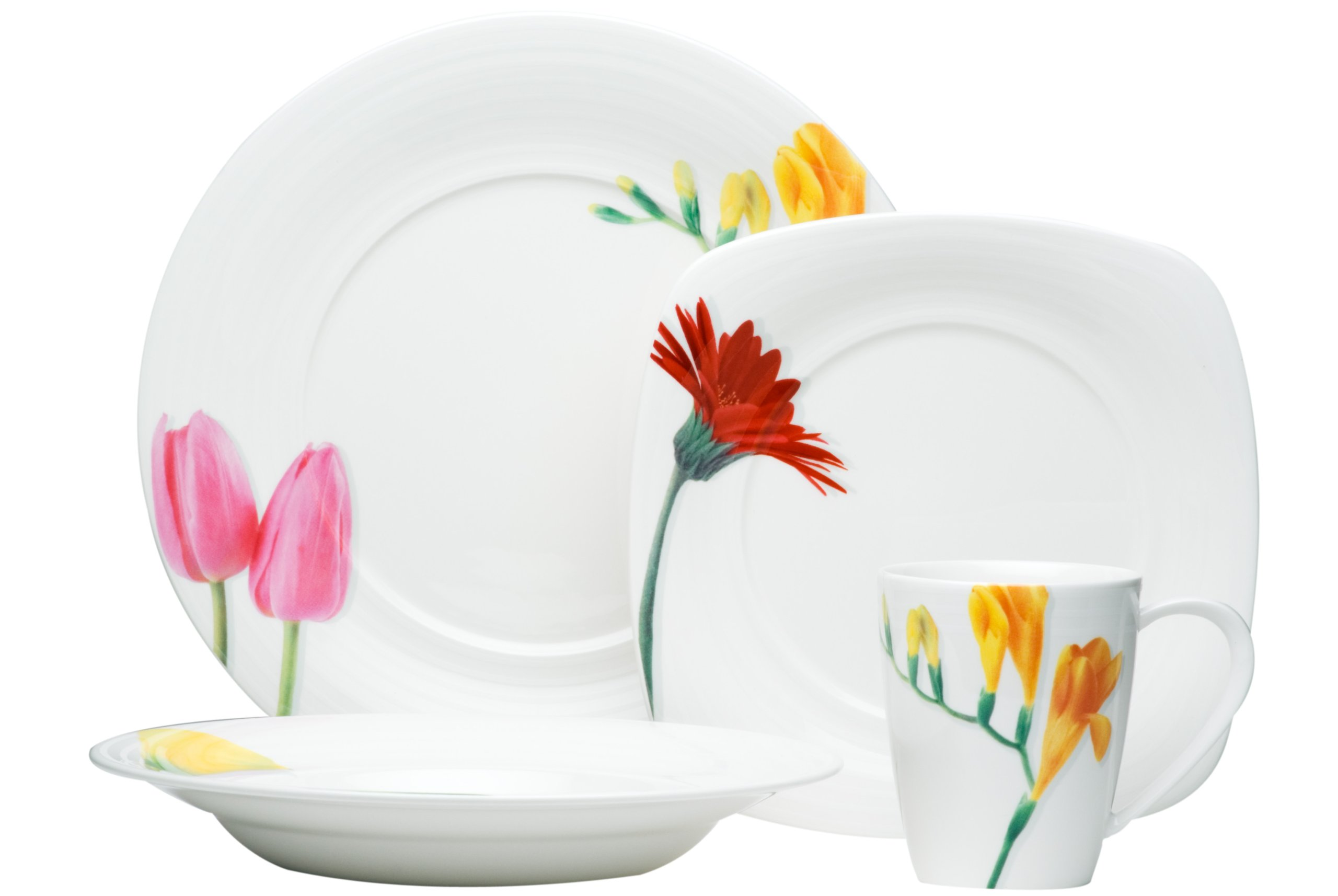 Red Vanilla Dutch Garden 16-Piece Dinner Set - Four (4) dinner plates 11-1/2-inch, four (4) cups 3-1/2-inch by 4-inch high, four (4) soup plates 9-1/2-inch, four (4) salad plates 8-1/2-inch Material: stoneware White with pattern - kitchen-tabletop, kitchen-dining-room, dinnerware-sets - 714 L%2BCrJJL -