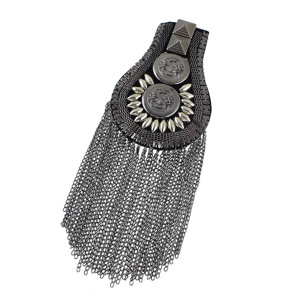 Feelontop/® One Piece Punk Design Long Tassel Chain Shoulder Board with Free Jewelry Pouch