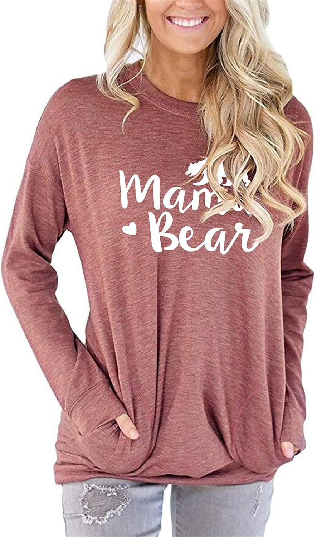 MODARANI Casual Long Sleeve T Shirt Mama Bear Good Vibes Tunic Tops Be Kind Blouse for Women Cute /& Comfy